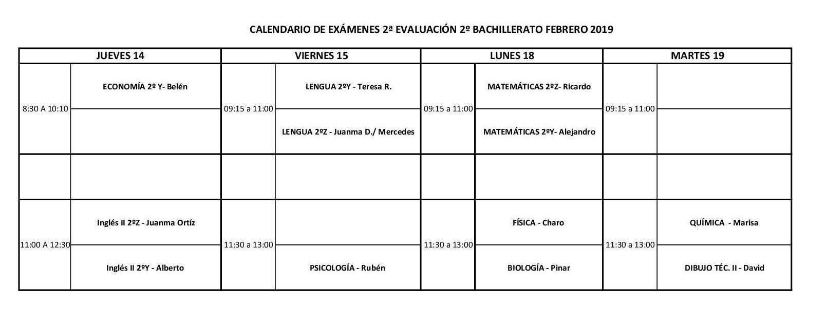 Calendario De Examenes.Calendario Examenes 2º De Bachillerato 2ª Evaluacion Web Ies