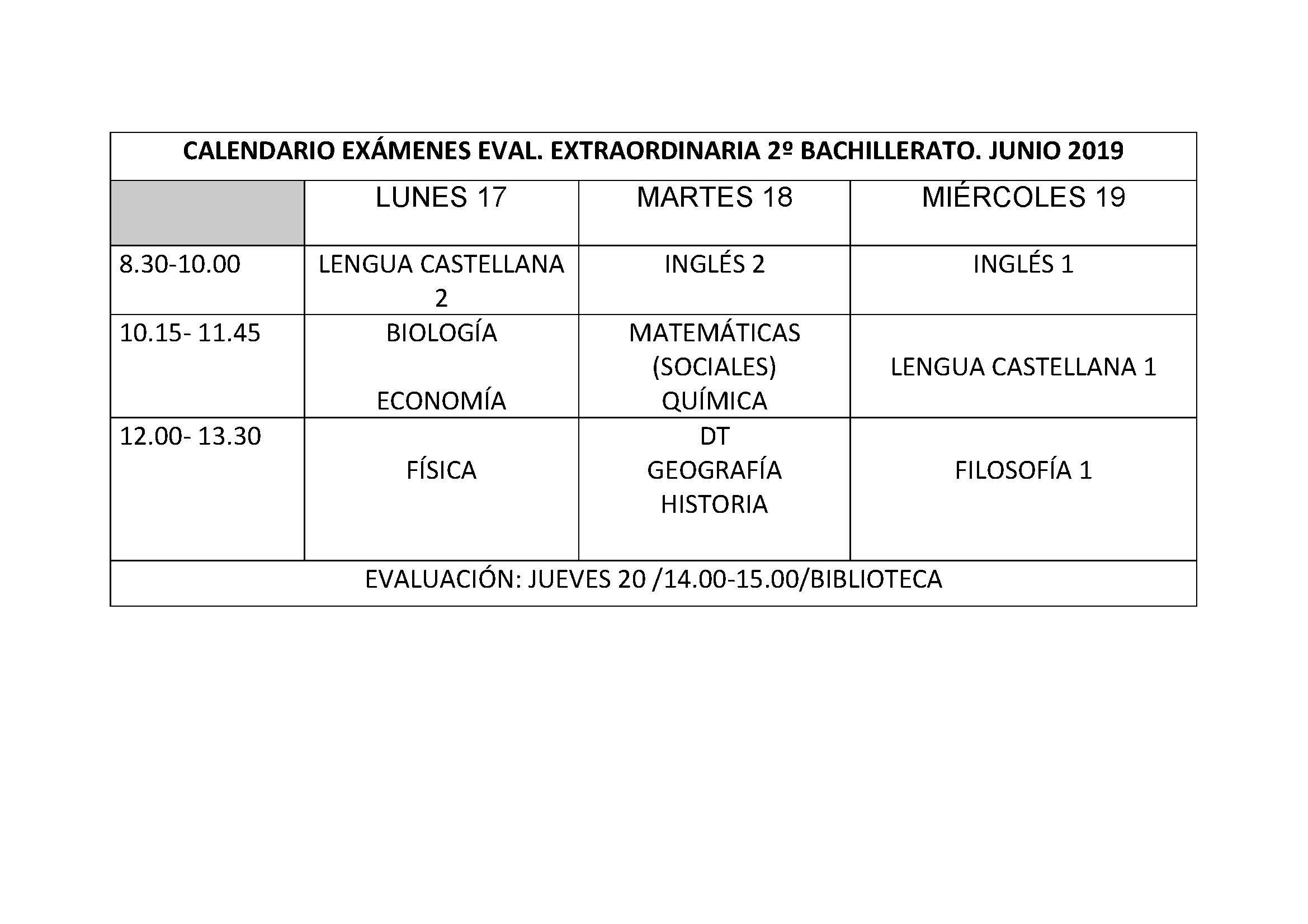 Calendario De Examenes.Calendario Examenes 2º Bach Extraordinaria Web Ies Rafael